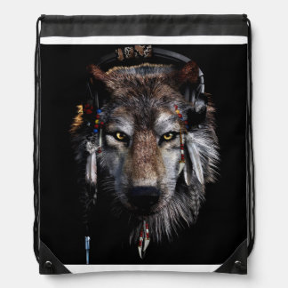 Indian wolf - gray wolf drawstring bag