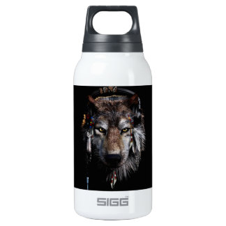 Indian wolf - gray wolf insulated water bottle
