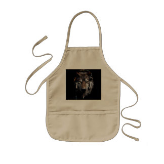 Indian wolf - gray wolf kids apron