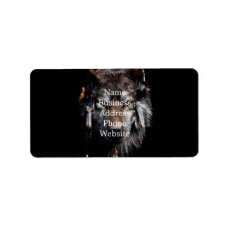 Indian wolf - gray wolf label