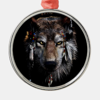 Indian wolf - gray wolf metal ornament
