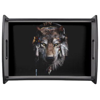 Indian wolf - gray wolf serving tray