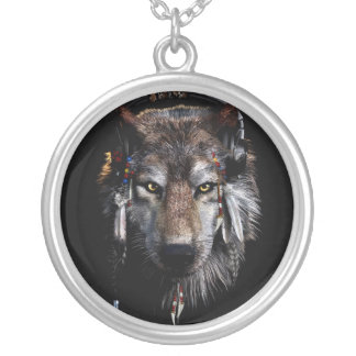 Indian wolf - gray wolf silver plated necklace