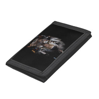 Indian wolf - gray wolf tri-fold wallet