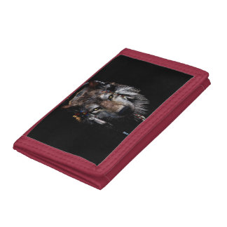 Indian wolf - gray wolf trifold wallets