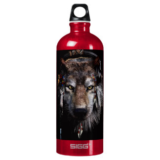 Indian wolf - gray wolf water bottle