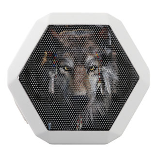 Indian wolf - gray wolf white bluetooth speaker