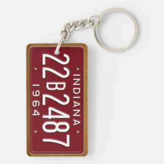 Indiana 1964 Vintage License Plate Keychain Rectangular Acrylic Key Chain