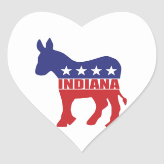 Indiana Democrat Donkey Heart Sticker