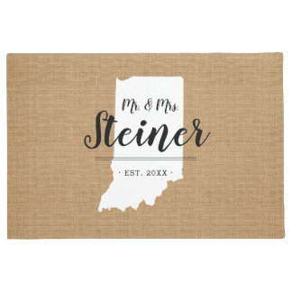Indiana Family Monogram State Doormat
