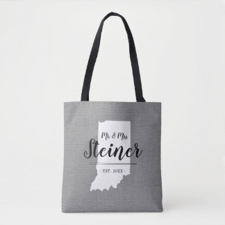 Indiana Family Monogram State Tote Bag