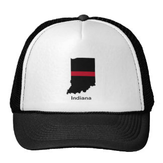 Indiana Firefighter Thin Red Line Trucker Hat