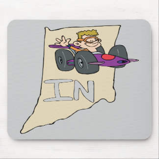 Indiana IN Map with funny Indy Race Car Cartoon Mouse Pads