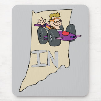 Indiana IN Map with funny Indy Race Car Cartoon Mouse Pad