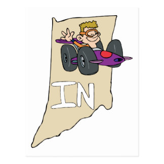 Indiana IN Map with funny Indy Race Car Cartoon Post Cards