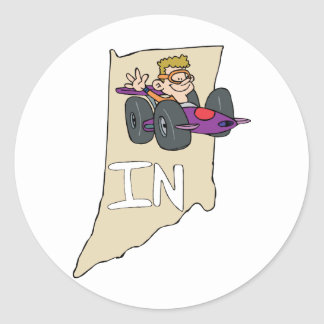 Indiana IN Map with funny Indy Race Car Cartoon Stickers