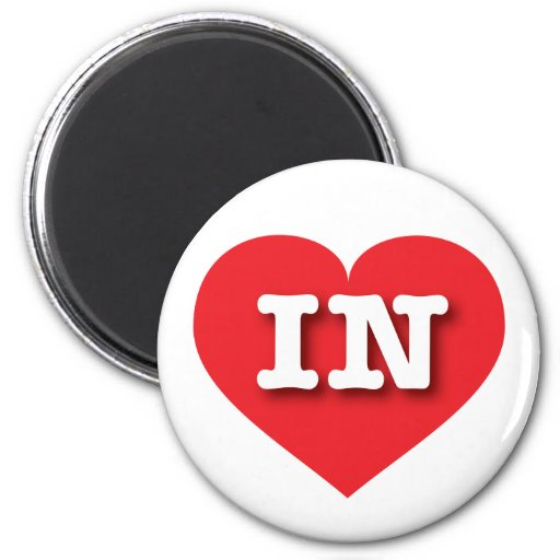 Indiana IN red heart Refrigerator Magnet