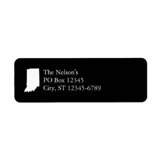 Indiana in White and Black Return Address Label