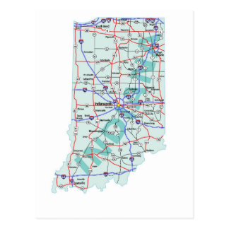 Indiana Interstate Map Postcard
