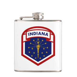 Indiana State Flag Coat Of Arms Style Hip Flask