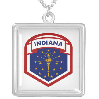 Indiana State Flag Coat Of Arms Style Silver Plated Necklace