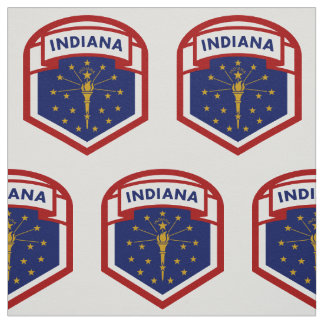 Indiana State Flag Crest Style Fabric