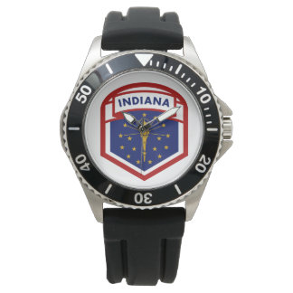 Indiana State Flag Crest Style Watch