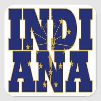 Indiana state flag text square sticker