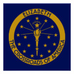 Indiana The Hoosier State Personalised Flag Poster
