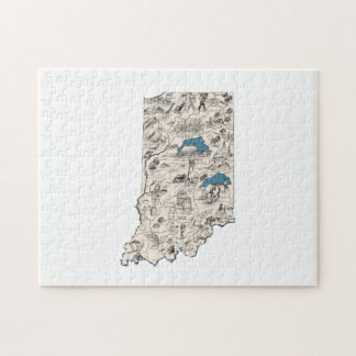 Indiana Vintage Picture Map Jigsaw Puzzle