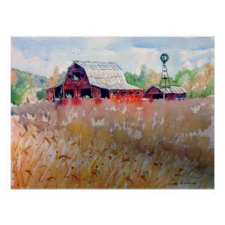 Indiana Wheat Field and Old Red Barn Poster
