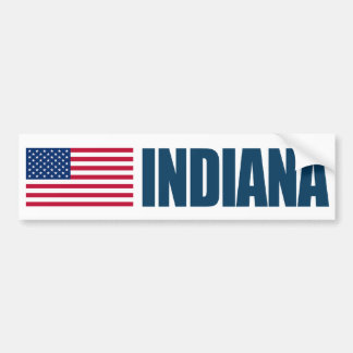 Indiana with US Flag Bumper Sticker