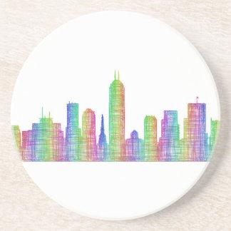 Indianapolis city skyline drink coasters
