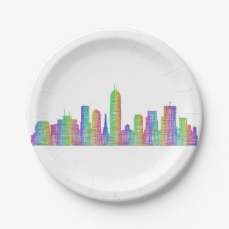 Indianapolis city skyline paper plate