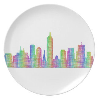 Indianapolis city skyline plate