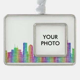 Indianapolis city skyline silver plated framed ornament