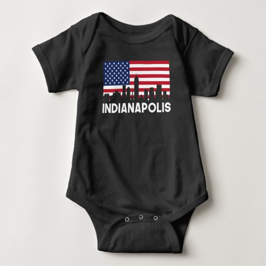 Indianapolis IN American Flag Skyline Baby Bodysuit