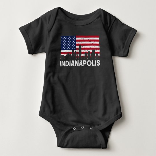 Indianapolis IN American Flag Skyline Distressed Baby Bodysuit