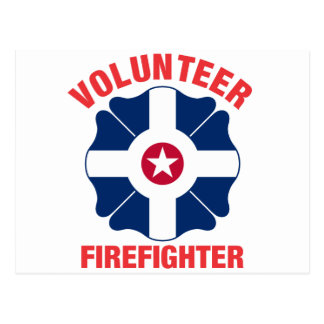 Indianapolis, IN Flag Volunteer Firefighter Cross Post Card