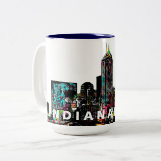 Indianapolis in graffiti Two-Tone coffee mug