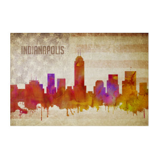 Indianapolis, IN | Watercolor City Skyline Acrylic Wall Art