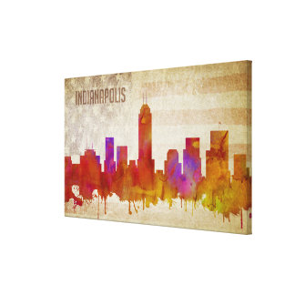 Indianapolis, IN | Watercolor City Skyline Canvas Print