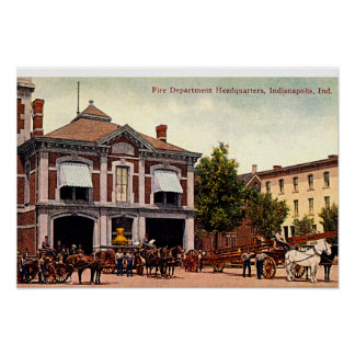 Indianapolis, Indiana Fire Depart Mass Ave 1910 Poster