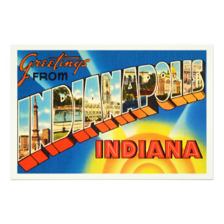 Indianapolis Indiana IN Vintage Travel Souvenir Art Photo