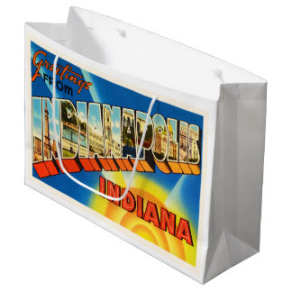 Indianapolis Indiana IN Vintage Travel Souvenir Large Gift Bag
