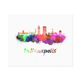 Indianapolis skyline in watercolor canvas print