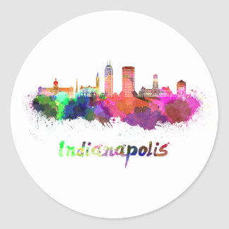 Indianapolis skyline in watercolor classic round sticker
