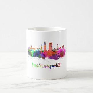 Indianapolis skyline in watercolor coffee mug