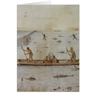 Indians Fishing Card