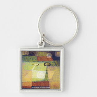 Indians in space #6 Silver-Colored square key ring
